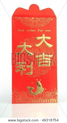 Chines Red Envelope isolated on pure white background