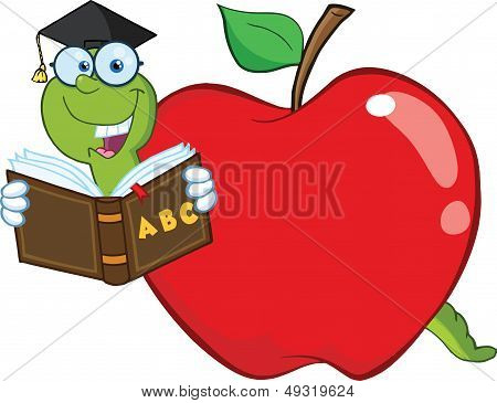 Happy Worm In Red Apple Reading A School Book