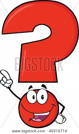Happy Red Question Mark Character Pointing With Finger