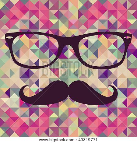 Vintage Hipster Face Geometric Pattern