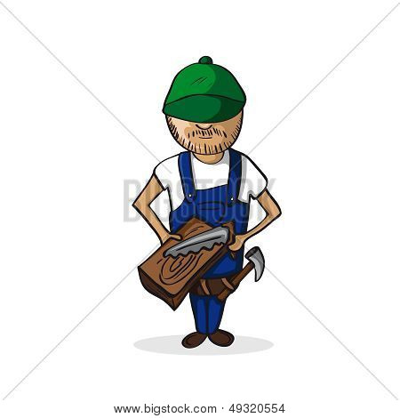 Profession Carpenter Man Cartoon Figure.