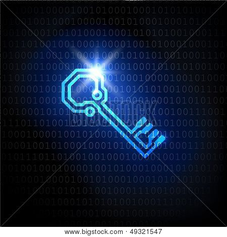 The key and binary code password. Vector background.