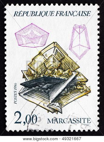 Postage Stamp France 1986 Marcasite, White Iron Pyrite, Mineral