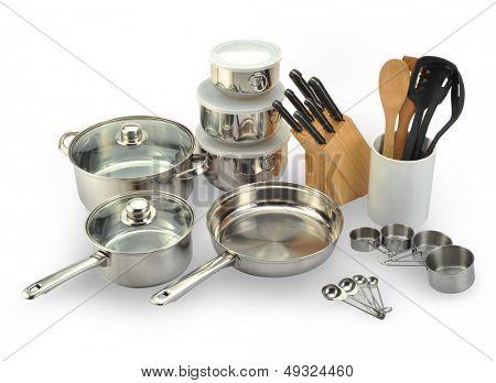 New kitchen set isolated on white background