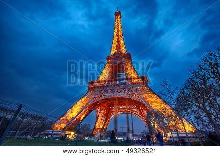 PARIS - APRIL 03: Closeup view on Eiffel Tower Light Beam Show on April 03, 2013 in Paris, France. The Eiffel tower is the most visited touristic attraction in France.