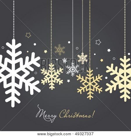 Christmas and New Year card with snowflakes, stylized holiday card with gold and silver hanging snowflakes and other decorations