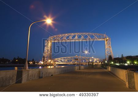 Duluth Lift Bridge At Night