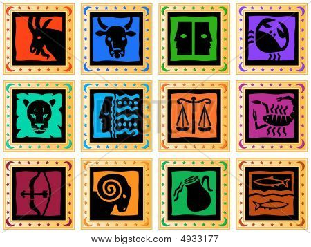 Golden Squares Colored Signs Of The Zodiac
