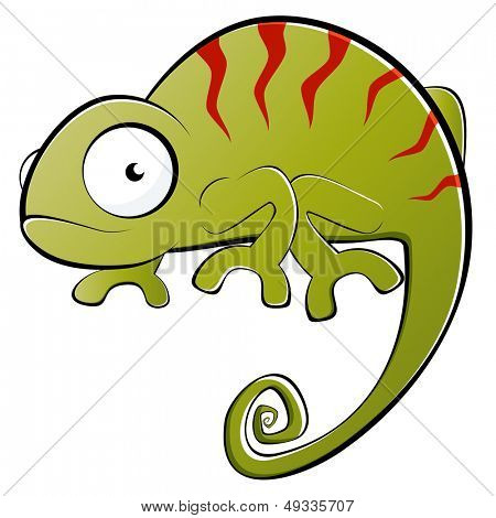 funny cartoon chameleon