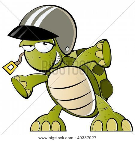 funny cartoon turtle with helmet
