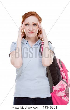 Depressed College Student Caucasian Young Woman