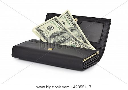 Dollar Bills One Hundred Dollars In A Black Purse. Isolated On A White Background.