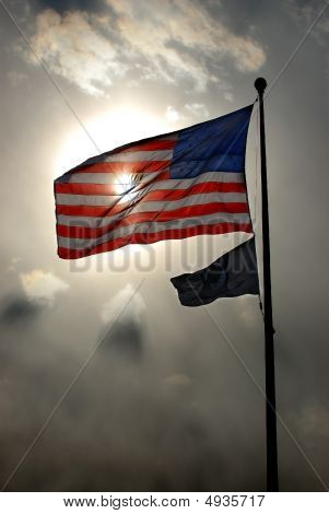 American Flag And Pow-mia