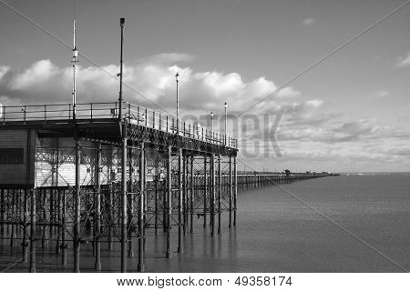 Black And White Image Of Southend Pier, Essex, England