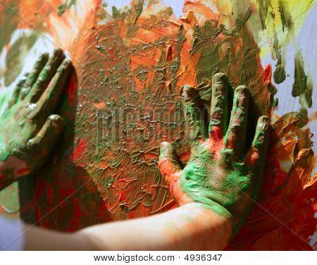Kinder Künstler Hände Malerei Multi colors