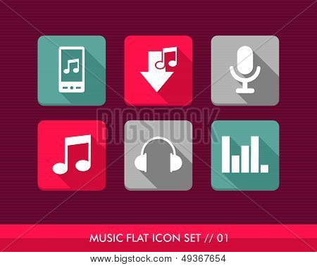 Music Flat Icons Set.