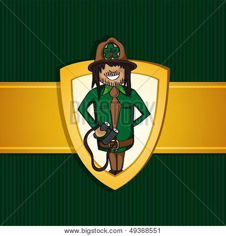 Service Park Ranger Man Cartoon Shield Symbol.