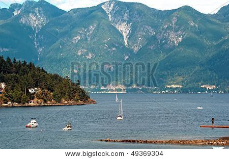 Horseshoe Bay And Bowen Island With Vancouver Coastal Mountains N The Backdrop, British Columbia, Ca