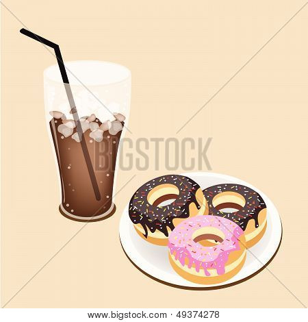 A Delicious Iced Coffee With Glazed Donuts