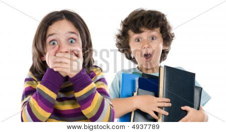 Surprised Girl And A Boy With Many Books Falling