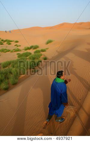 Beduine In Sahara Desert