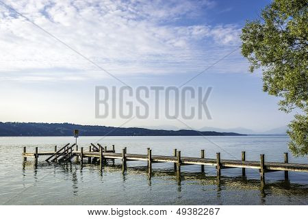 Jetty At Lake In The Morning