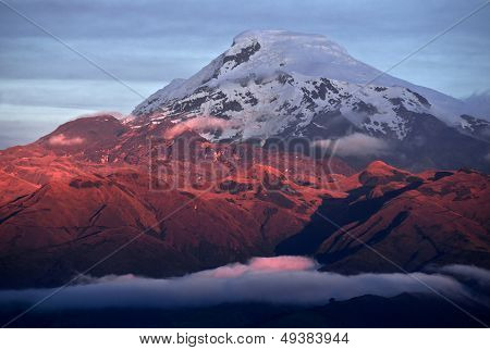 Sunset On The Mighty Volcano Cayambe In Ecuador