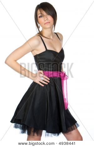 Beautiful Teenage Girl In Black Dress