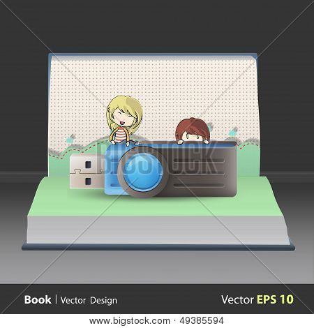 Kids Holding Blue Pendrive On Book. Vector Design