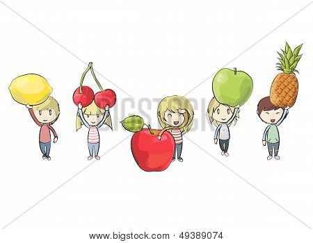 Kids Holding Colorful Fruits. Vector Design