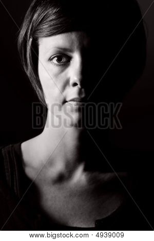 Shot Of A Pensive Female