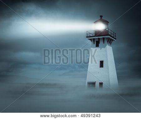 Night view Lighthouse Beam