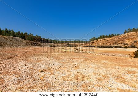 Empty River-bed In A Dry Dusty Landscape