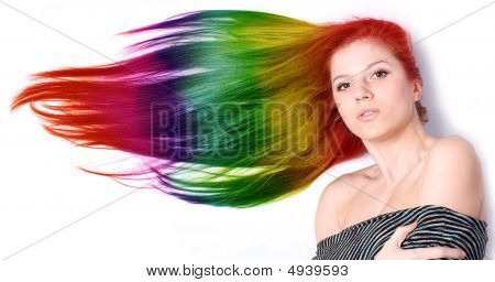 Woman With Long Color Hair