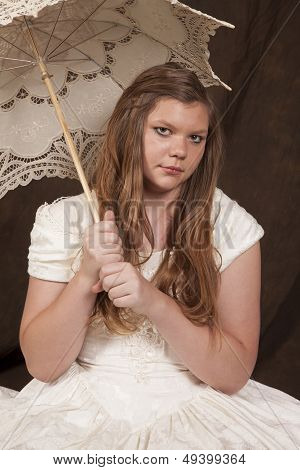 Girl White Dress Umbrella Sit Looking