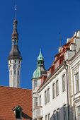 pic of wane  - Street fragment with tall town hall tower - JPG