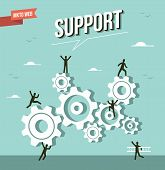 stock photo of market segmentation  - Web marketing gear wheel support illustration - JPG