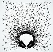 stock photo of g clef  - Dj headphones random music notes splash illustration - JPG