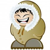 stock photo of eskimos  - funny cartoon eskimo - JPG