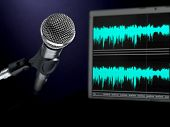stock photo of recording studio  - A dynamic microphone and a waveform monitor - JPG