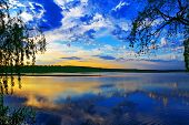 picture of willow  - Sunset over lake - JPG