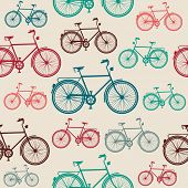 stock photo of bicycle gear  - Retro hipster bicycle seamless pattern background - JPG