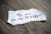 image of wood pieces  - To me you are Perfect  - JPG