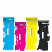 cmyk concept of a paint roller vector background