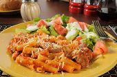stock photo of meatballs  - Rigatoni with meatballs Italian sausage and marinara sauce - JPG
