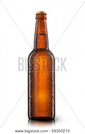 Beer bottle with water drops isolated on white