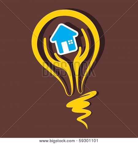 home symbol in bulb stock