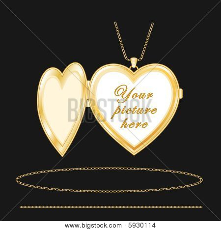 Engraved Gold Heart Locket