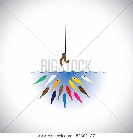 Fish Hook With Worm As Bait For Fishing- Vector Concept