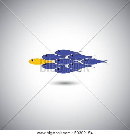 Leadership Vector Concept - Leader Fish & Team